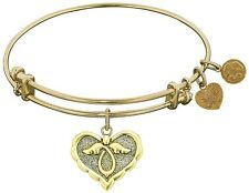 Angelica 7.25 Adjustable Pink Smooth Finish Brass Cherish Bangle Bracelet