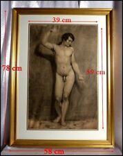 Nu Masculin 19e Jeune Homme Nu Dessin Original 1820 Etude d'Homme Nu Bras Levé.