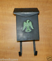 8569/ Vintage Metal MAILBOX w/ Federal Eagle & Newspaper Holder ~ Mid Century