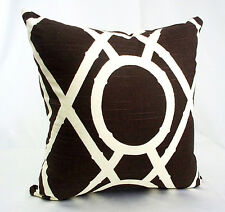 """Pillow Cover Brown Ivory Robert Allen 18"""" Throw Cases Sofa Couch Decorative Deco"""