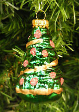 HAND BLOWN & PAINTED MERCURY STYLE GLASS DECORATED CHRISTMAS TREE XMAS ORNAMENT