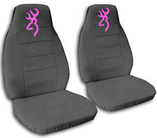 Browning Car Seat Covers in Pink & Charcoal Gray Velour Front Set