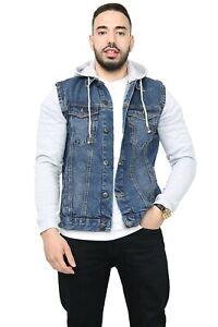 Mens Denim Jacket with Fleece Sleeves & Detachable Hood Trucker Classic Coat New