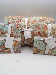 Pottery Barn Paloma Cotton Floral Full Queen Comforter 2 Stnd Shams Multi #9999H