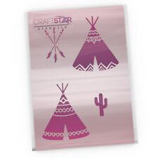 CraftStar Native American Teepee Stencil Set - Teepee, Arrows, Cactus Stencil