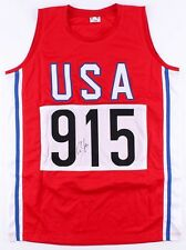 Carl Lewis Signed Autographed USA Track Olympic Jersey JSA COA