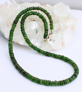 Chromdiopsid Necklace Precious Stone Faceted Diopside Green Women's 44 CM