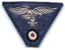 WWII German Luftwaffe Cap Eagle Iron Cross Grey on Blue Wool Trapezoid Patch