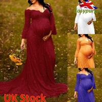 Women Lace Pregnant Flare Sleeve Photography Prop Long Maxi Dress Maternity Gown