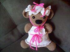 Crochet stuffed animal Koala bear 12 in tall w/hat+dress handmade