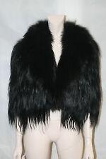LANVIN BLACK GOAT HAIR JACKET COAT WITH BLACK FOX FUR TRIM & SILK LINING, SIZE 6