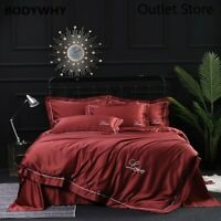 4pcs Silk Tencel Bedding Set Embroidery Duvet Cover Sheet Fitted Bed Flat Sheet