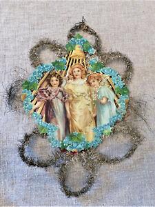 "ANTIQUE 1880s XL 12"" 3 ANGELS Girls SCRAP Die Cut TINSEL Christmas ORNAMENT #3"