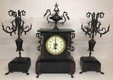 Ancienne Garniture Horloge De Cheminée En Marbre À révisé OBRY LILLE