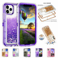 For iPhone 12 11 Pro XS Max XR 678+ Liquid Quicksand Glitter Bling Case Cover
