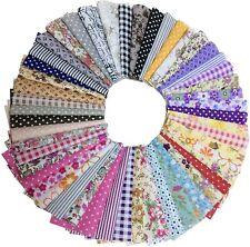 50 PIC Cotton Craft Fabric Bundle Squares Patchwork Sewing Scrapbooking Quilt
