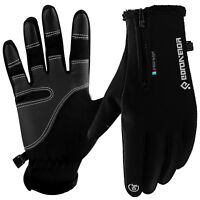 Touch Screen Gloves Zipper Thermal Winter Sports Skiing Warm Mittens Men Women