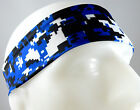 NEW! Super Soft Royal Blue Black Digital Camo Headband Sports Running Workout