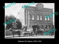OLD LARGE HISTORIC PHOTO OF BALMAIN NSW, THE BALMAIN FIRE STATION c1910