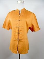 Womens Vtg Retro Chinese Look Linen Orange Short Sleeve Blouse Over Plus sz BE61
