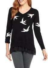 THE LIMITED® XL Black Sparrow Embellished Pullover Sweater NWT $119