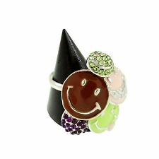 NWOT SMILEY FACES RING w/ Rhinestones Adjustable Silver Smile Pink Green