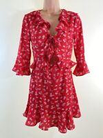 BNWOT BOOHOO red ditsy floral print ruffle trim cut out mini tea dress size 6 34