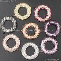 Zircon Gemstone Pave Round Donut Ring 22mm Spacer Bracelet Connector Charm Beads