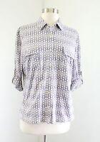 J McLaughlin Geometric Print Nylon Button Down Blouse Shirt Size M Gray Purple