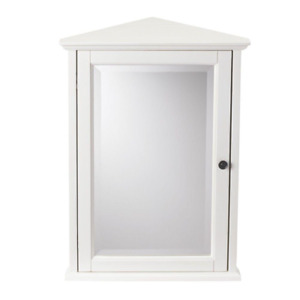 Wall Medicine Cabinet Hamilton Bathroom Decor Corner Mirror Ivory 20 in. x 27 in