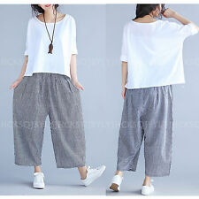 2017 Retro Women Casual Loose Cotton Linen Wide Legs Cropped Pants Trousers