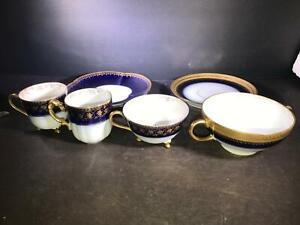 K) LOT 7 LIMOGES FRANCE COBALT BLUE GOLD 3 DEMITASSE CUP 2 SAUCER1 DOUBLE SOUP