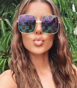 GUCCI GG0414/S 414 003 Gold Multicolor Mirrored Square Sunglasses Authentic New
