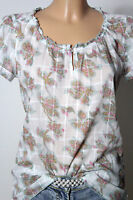 CAMPUS Bluse Gr. S weiß-blau-rosa Baumwolle Kurzarm Bluse mit Blatt Muster