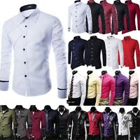 Luxury Men's Casual Shirt Slim Fit Long Sleeve Formal Business Dress Shirt Top