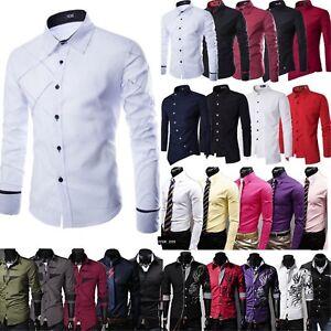 Herren Hemd Business Anzug Hemden Hochzeit Langarmshirt Freizeit Slim Shirt DE