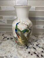 """VINTAGE SATSUMA JAPAN vase 6"""" Tall Peacocks"""