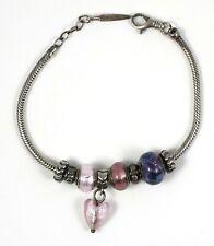 Vintage Bacio Murano Sterling Silver Charm Bracelet Purple and Pink
