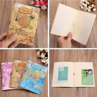 Leather World Map Passport Holder Organizer Travel Card Case Document Cover HOT