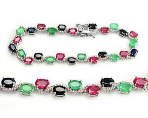 925 Sterling Silver Natural Ruby Emerald & Sapphire Gemstone Jewelry Bracelet