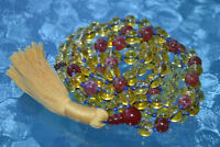 8 mm Citrine & Red Fire Agate Knotted Mala Beads Necklace November Birthstone