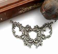 ANTIQUE SILVER Ornate Scroll Cartouche Stamping ~ Jewelry Finding (C-901) *