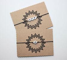 Individuelles Namen Wunschtext Armband 1 bis 3 Buchstaben Weiß verstellbar