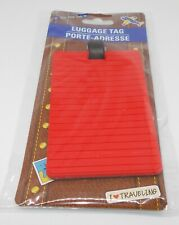 """ON THE GO Soft Vinyl Luggage Tag RED 4"""" x 2.5"""" New in Package"""