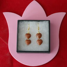 Beautiful Gold Plated Earrings With Sunstone 4.6 Gr. 3 Cm. Long + Hooks In Box