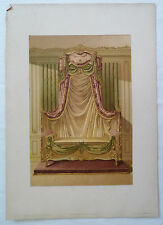 ANCIENNE CHROMO 1880 / TENTURE DE LIT / STYLE LOUIS XV / PL9