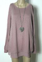 BONITA Pullover Gr. L alt-rosa Long Strick Damen Pullover mit Nieten 55% Wolle