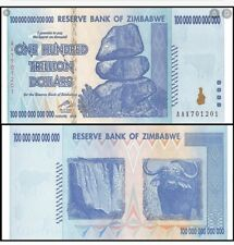100 TRILLION DOLLARS ZIMBABWE BANKNOTE AA P-91 xtra fine /vf  Note Currency 2008