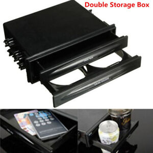 Double Din Dash Radio Installation Pocket Cup Holder Storage Box For Vehicle Car
