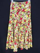Anne Klein Skirt Silk Small Floral Long Tiered Drawstring Boho Yellow Red Green